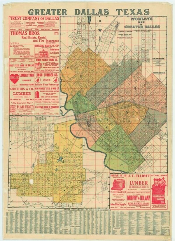 Карта Далласа 1905