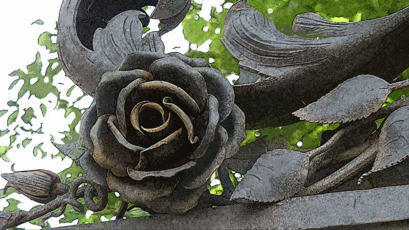 Железная роза на ограде