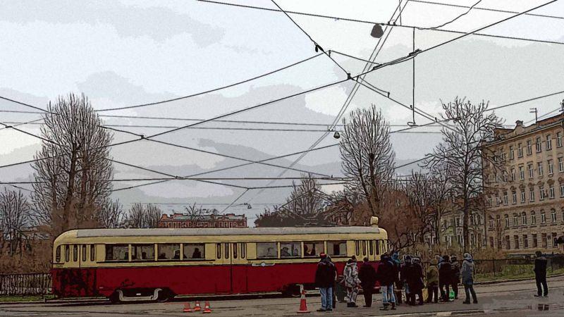 Покровский сквер, СПб, трамвай